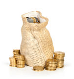 Money coins in bag Stock Photography