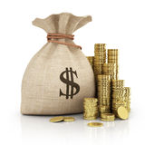 Money coins in bag Royalty Free Stock Images