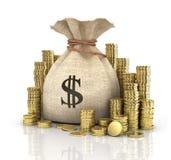 Money coins in bag Royalty Free Stock Photos