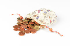 Money coins in bag Stock Images