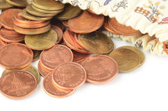 Money coins in bag Royalty Free Stock Photo