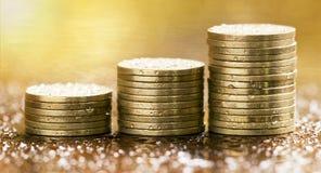 Money coins banner Stock Photos