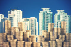 Money coins in the big city Royalty Free Stock Image