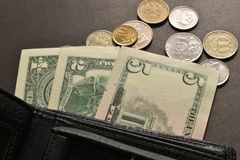 Money, coins, bills wallet - it`s all money and Finance. stock photography