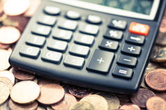 Money, coins, calculator, Euro Stock Photo