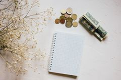 Money coins and cash, dry flower, empty notebook on white royalty free stock images