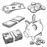 Money and coins doodles Royalty Free Stock Photography
