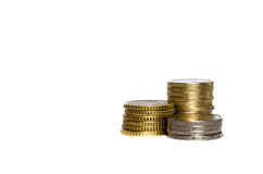 Money and coins from europe, three diferent piles stock photos