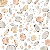 Money Coins Falling Raining Down. American coins raining down on a white background Stock Image