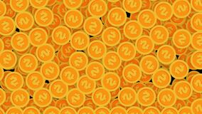 Money coins fly out of the screen. Winning a lot of gold coins is a victory. Illustration concept, money, 2d, 3d, alpha