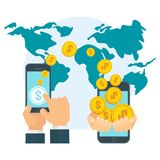 Money coins global transfer concept. Money transfer using mobile device, smart phone with banking payment app. Internet banking, contactless payment, financial Stock Images