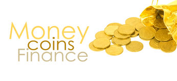 Money coins in golden bag. Isolated on white Royalty Free Stock Image