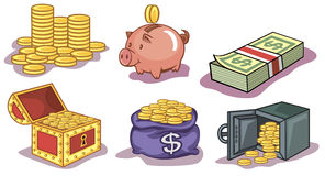 Money and coins icons. Vector illustration of a set money and coins icons Royalty Free Stock Images