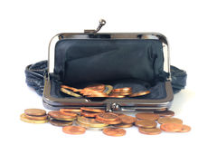 Money coins inside black leather purse, white background. Royalty Free Stock Photography