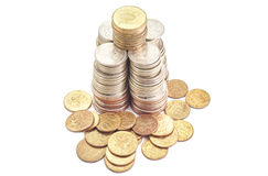 Money Coins metal in stack roubles. On white background Stock Image