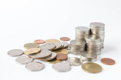 Money coins pile in banking concept Stock Photo