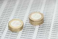 Money coins on sheet Stock Image