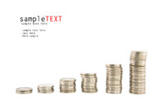 Money coins stack on white Royalty Free Stock Images