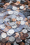 Money Coins Water Drop Background royalty free stock images