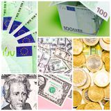 Money collage Stock Photos