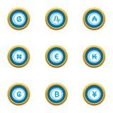 Money collapse icons set, flat style. Money collapse icons set. Flat set of 9 money collapse vector icons for web isolated on white background Stock Photos