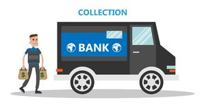 Money collector truck. Money collector armored truck. Working in bank Royalty Free Stock Images