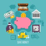Money Colored And Flat Composition. With save money headline and ways to save cash and noncash money vector illustration Stock Image