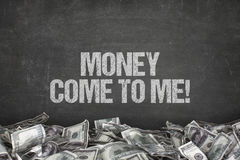Money come to me text on black background royalty free illustration