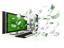 Money coming from computer Royalty Free Stock Photos