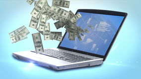 Money coming out of a laptop. Digital animation of money coming out of a laptop