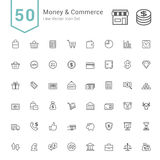 Money and Commerce Icon Sets. 50 Line Vector Icons. Royalty Free Stock Image