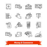 Money and commerce icons thin line set. Currency operations, banking building, cash in hands and economy. Linear style illustrations isolated on white Royalty Free Stock Photos