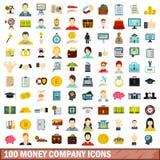 100 money company icons set, flat style. 100 money company icons set in flat style for any design vector illustration Stock Illustration