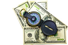 Money and Compass Stock Images