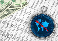 Money Compass Concept Royalty Free Stock Photography