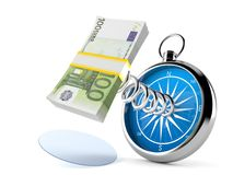 Money with compass. On white background Stock Images