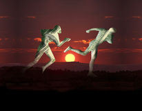 Money competition. Illustration of business people of dollars money on sunsets Royalty Free Stock Images
