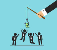 Money and competition in the office. The hand will bite the fishing rod. The hook hangs money and office workers jump, they want to do the work and get money Stock Photo