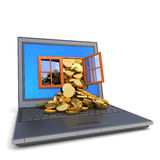 Money from computer Stock Photos