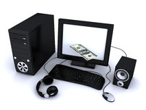 Money and computer Royalty Free Stock Image