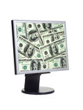 Money on computer screen royalty free stock photos