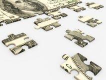 Money concept. Puzzle dollar on white background stock illustration