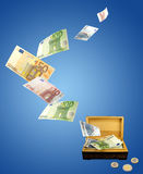 Money concept. Ual image.  Euro money fly out from storage Stock Photo