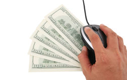Money Concept. A laptop computer with mouse and five one hundred dollars notes Royalty Free Stock Photo