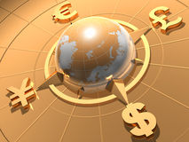 Money concept. Globe  with symbols of Dollar,  Euro, Pound,  and Yen Stock Images