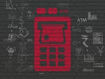 Money concept: ATM Machine on wall background. Money concept: Painted red ATM Machine icon on Black Brick wall background with Scheme Of Hand Drawn Finance Icons Stock Photos