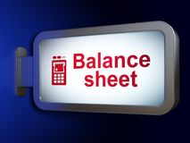 Money concept: Balance Sheet and ATM Machine on billboard background. Money concept: Balance Sheet and ATM Machine on advertising billboard background, 3D Royalty Free Stock Photography