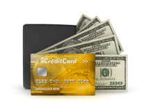 Money concept - bank notes, credit card and wallet stock illustration