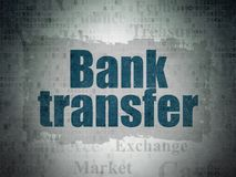 Money concept: Bank Transfer on Digital Data Paper background. Money concept: Painted blue text Bank Transfer on Digital Data Paper background with   Tag Cloud Stock Images
