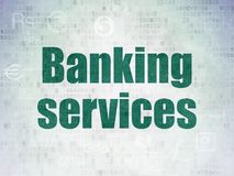 Money concept: Banking Services on Digital Data Paper background. Money concept: Painted green text Banking Services on Digital Data Paper background with Royalty Free Stock Images